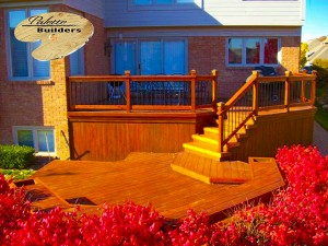 Rochester MI Deck Builder Stained Cedar Wood Deck Multi-Level
