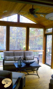 Oxford MI Porch Builder Trex Transcends wooden porch and glass windows