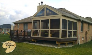 Oakland Twp MI Porch Builder Trex Transcends glass windowed porch