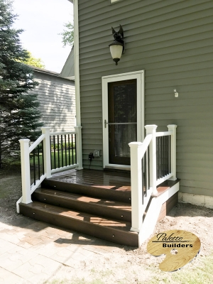 Fenton MI Deck Builder Trex Composite Spiced Rum Front Porch Deck