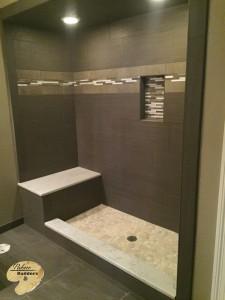 Clarkston MI Finished Basements Custom Tile Shower