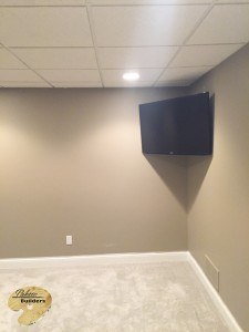 Brandon Twp MI Finished Basements Floating Television and Accent Lighting