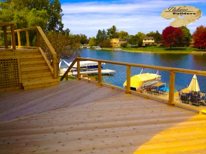 Commerce MI Deck Builder Cedar Wood Deck Glass Rail