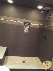 Clarkston MI Finished Basements Custom Tile Shower