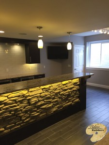 Rochester MI Finished Basements Custom Stonework and Granite Countertop Bar