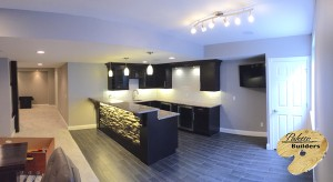 Oakland Twp MI Finished Basements Custom Tile flooring, Cabinets and Granite Countertops