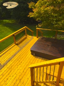 Rochester MI Deck Builder Cedar Wood Deck Multi Level Hot Tub