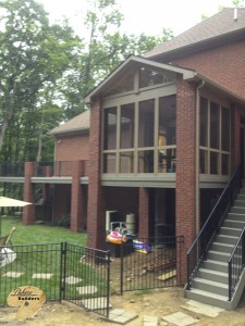 Orion Twp MI Porch Builder Trex  Transcends custom brick work and glass windows