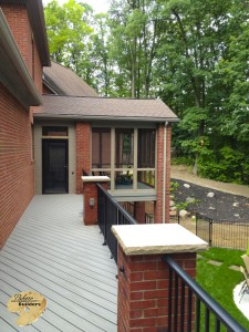 Rochester MI Porch Builder Trex Transcends Custom Brickwork and aluminum railing