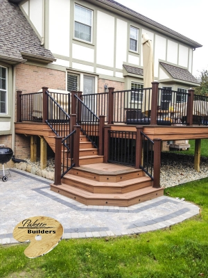 Plymouth Township MI Deck Builder Trex Composite Tiki Torch Staircase Landing