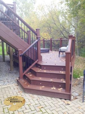 Lake Orion MI Deck Builder Trex Composite Fire Pit Staircase Landing