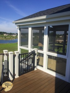 Rochester Hills MI Porch Builder Trex Transcends Glass Windowed Porch and Trex Decking