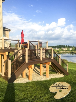 Clarkston MI Deck Builder Trex Composite Multi-level Stonework LED Lighting