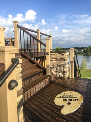 Clarkston MI Deck Builder Trex Composite Multi-level Stonework Lights