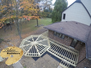 Addison Township MI Deck Builder Trex Composite Spiced Rum Frame Octagon