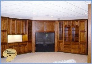 Rochester MI Finished Basements Custom Cabinets and Entertainment Center