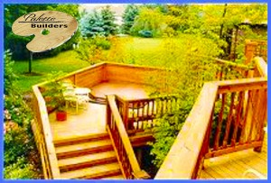 Rochester Hills MI Deck Builder Cedar Wood Deck Multi-Level
