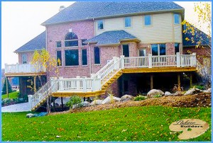 Oakland Township MI Deck Builder Cedar Wood Deck Custom Railing