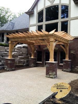 Milford Michigan Custom Pergola Builder Cedar Pergola with Custom Brick Work